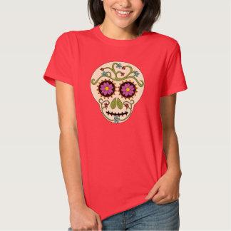 Camiseta redonda del cráneo del azúcar poleras