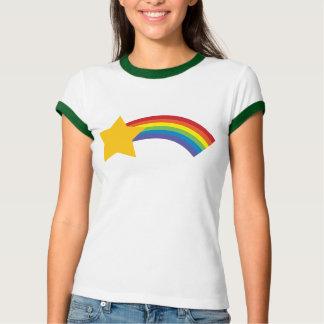 camiseta retra de la estrella fugaz del arco iris