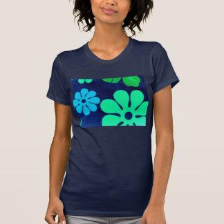 Camiseta retra de la flor de la mirada