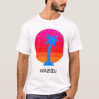 Camiseta retra de la puesta del sol