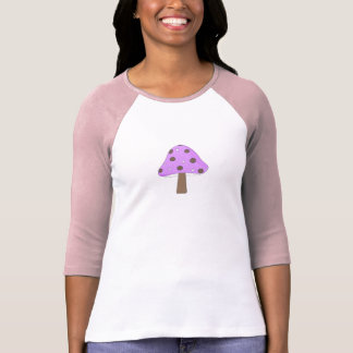 Camiseta retra de la seta del lunar púrpura rosado