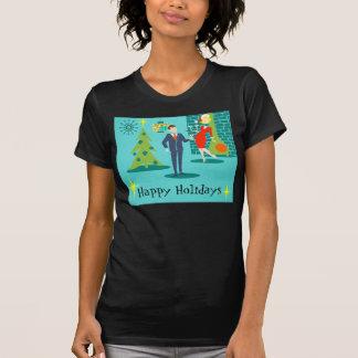 Camiseta retra de los pares del dibujo animado del