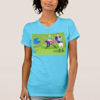 Camiseta retra de los pares del dibujo animado en