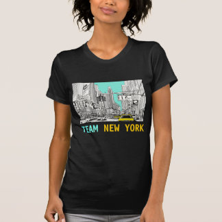 Camiseta retra del arte de Nueva York del equipo