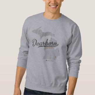 Camiseta retra del mapa de Dearborn Michigan Sudadera