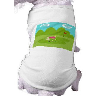 Camiseta retra del perro del golfista playera sin mangas para perro