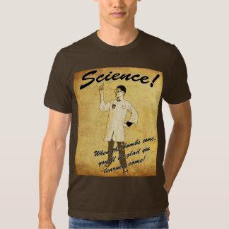 camiseta retra del poster de la ciencia de los camisas