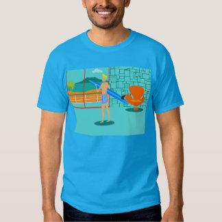 Camiseta retra del tipo de la persona que practica camisas