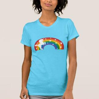 Camiseta retra del unicornio del arco iris