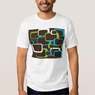 camiseta retra marrón de los cuadrados playera