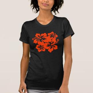 Camiseta roja bonita del hibisco playera