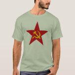 Camiseta roja comunista de la estrella (martillo y
