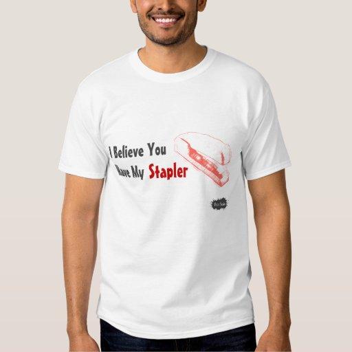 Camiseta roja de la grapadora para los hombres playeras