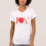 Camiseta roja de la huella dactilar de la alegría