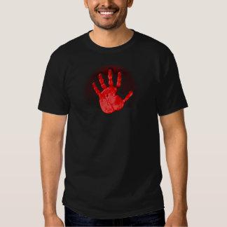 Camiseta roja de la mano poleras