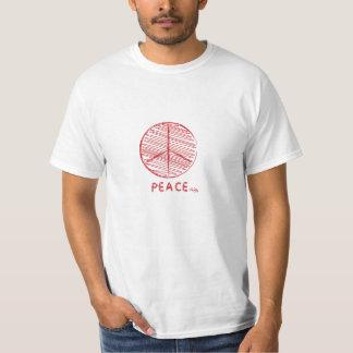 Camiseta roja de la paz de la pintura del garabato