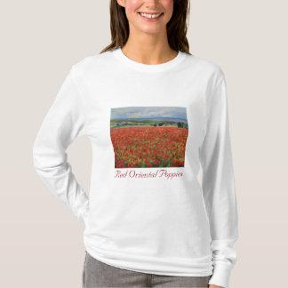 Camiseta roja de las amapolas orientales