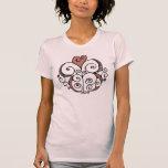 Camiseta roja de las señoras del adorno del corazó