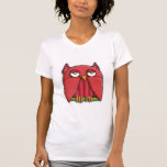 Camiseta roja de las señoras del búho