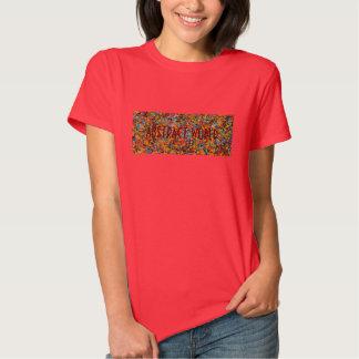 Camiseta roja de las señoras del mundo abstracto playera