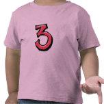 Camiseta roja de los niños del número 3 tontos