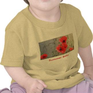 Camiseta roja del bebé de las amapolas de maíz de