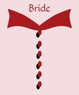 Camiseta roja del boda de la novia