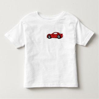 Camiseta roja del coche de deportes de los niños remeras