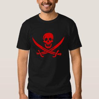 Camiseta roja del cráneo de Jack Rackham Remeras