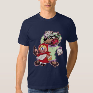 Camiseta roja del dibujo animado de la comida del remeras