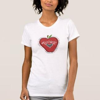 Camiseta roja del profesor del corazón del lunar d