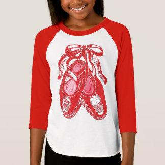 Camiseta roja del raglán de los chicas de los