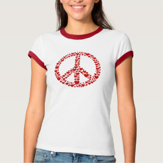 Camiseta roja del signo de la paz de los corazones