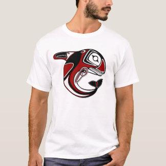 Camiseta roja del tótem de la ballena de los