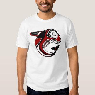 Camiseta roja del tótem de la ballena de los remera
