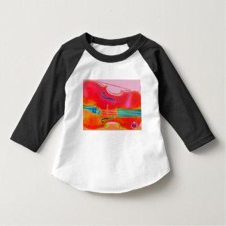 Camiseta roja del violoncelo del niño musical de playeras