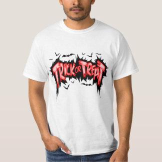 Camiseta roja negra fresca de Halloween del truco Poleras