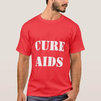 Camiseta roja para hombre del SIDA de la curación