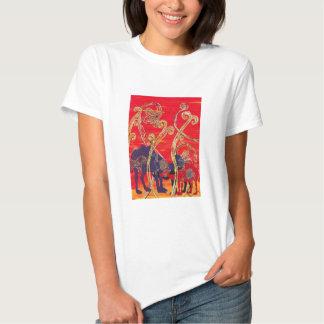Camiseta roja y azul de los camellos polera