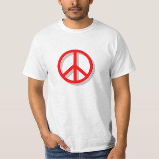 Camiseta roja y blanca de la paz