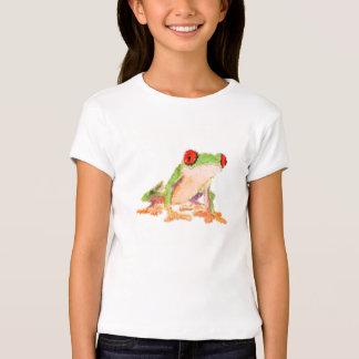 Camiseta rojo-observada rana polivinílica baja del playeras