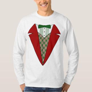 Camiseta, rojo y verde del smoking del navidad playera