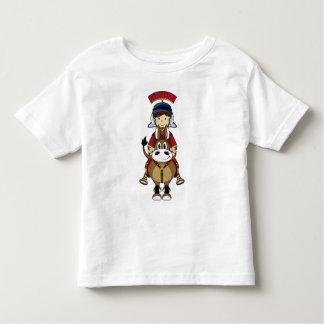 Camiseta romana linda del soldado y del caballo