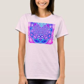 Camiseta rosada azul abstracta del fractal de la