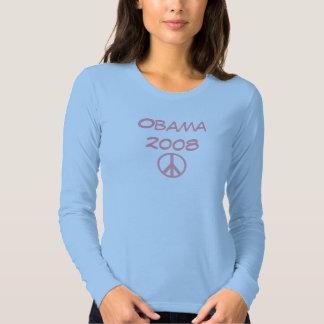Camiseta rosada azul de Obama 2008 Playeras