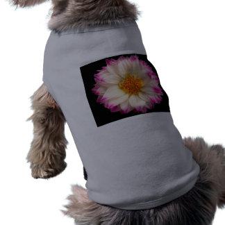 Camiseta rosada blanca del mascota del negro de la playera sin mangas para perro