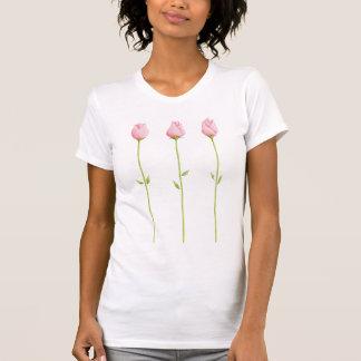 Camiseta rosada de 3 señoras de los capullos de ro