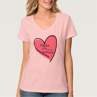 Camiseta rosada de encargo del corazón de la novia remera