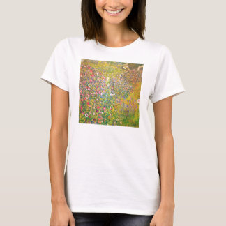 Camiseta rosada de las flores de Gustavo Klimt