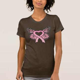 Camiseta rosada de las señoras de la mariposa del
